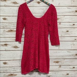 Free People Dresses - Free People Lace Hot Pink Rose Garden A-Line Dress